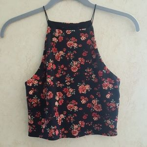 Forever 21 sexy floral print crop tank top